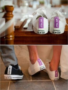 unique bride and groom wedding photo ideas with converse #uniquebrideshoes