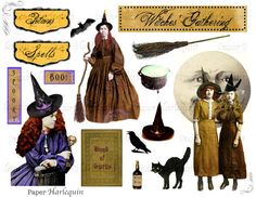 Perfect for crafting your own cards or invites, or any mixed-media project for Halloween!  Halloween Witch Digital Collage Printable for by PaperHarlequin, $3.50