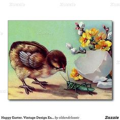 Happy Easter. Vintage Easter Chick design Easter Postcards. Matching card and other products available in the Holidays / Easter Category of the oldandclassic store at zazzle.com