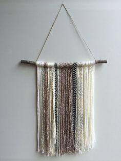 Yarn Wall Hanging. Boho decor. Yarn Tapestry. by ByStudioB on Etsy