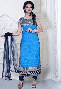 Dodger Blue embroidered festival churidar kameez intricate with resham thread, zari thread, neck work, floral work, leaf work