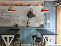 The Fish Shop  Potts Point  Sibella Court. Love the red stripe on the pendants!