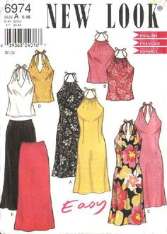 New Look Pattern Misses Summer back of Neck Tie Dress and tank Tops , Elastic waist Skirt Sewing Pattern, Ladies Sizes 6 to 16 by OnceUponAnHeirloom on Etsy Skirt Patterns Sewing, Clothing Patterns, Skirt Sewing, Dope Outfits, Pretty Outfits, Fashion Outfits, Estilo Kardashian, New Look Patterns, Mode Kawaii