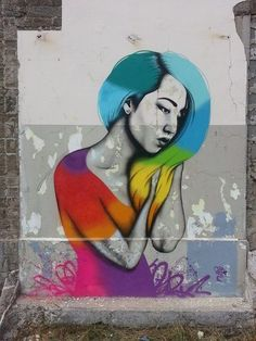 Street art in Brest, France by Irish artist Fin Dac