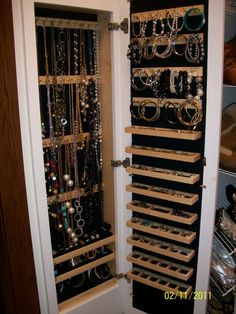 """Closet Jewelry Cabinet. I can imagine this with a full length wardrobe mirror for the front door. Great use of space if I can build it between the 2"""" x 4"""" vertical wall studs just like they do with bathroom medicine cabinets. Then it serves two purposes and no more unsightly visible wardrobe mirrors hung over the door or walls."""