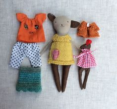 Rabbit doll, Mommy and Daughter rabbits, Rag doll, Cloth doll, dress up rabbit , rabbit with clothes ,doll set, play set, travel toy