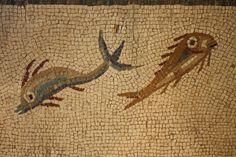Roman Fish Mosaic -- A detail of a Roman mosaic showing fish. Tarraco, 3rd century CE. (Archaeological Museum, Tarragona, Spain)