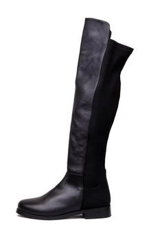 Leather Lycra Flat Knee High Boots Black - so classic and just what i was looking for. :}