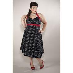 Black Polka Dot Dixie Halter Dress