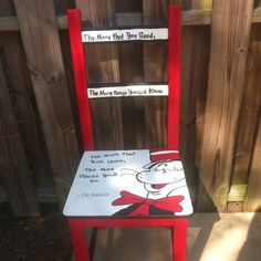 Dr. Seuss painted chair for a classroom!  I love this idea!!! @Jenn L Milsaps L Milsaps L Milsaps L Eidson you could totally do this...