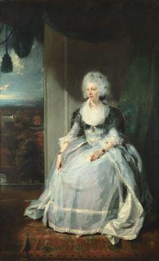 Sir Thomas Lawrence, 'Queen Charlotte', 1789, NG4257, swathed in delicate, partially-transparent muslin/lace?, the queen looks quite vulnerable here - n.b. the sitting followed George III's first round of 'insanity', and she wears his likeness on two pearl bracelets.