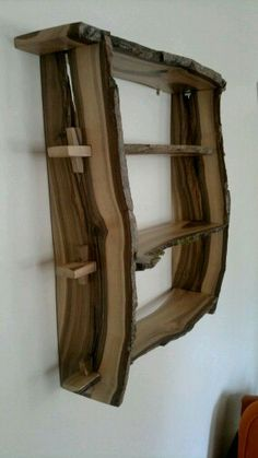 Walnut wood shelves Natural edge wallmounted by BenjaminsBarn, - Luxury Interior Design Live Edge Furniture, Furniture Projects, Rustic Furniture, Wood Projects, Outdoor Furniture, Furniture Design, Wood Slab, Walnut Wood, Woodworking Projects Diy