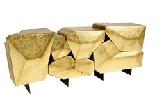 Bat Eye Stone Sideboard in Gold Leaf By Marco Sousa. This hand crafted piece features six cabinets coated with golden leaf that open individually to reveal a blue satin interior. Its legs are made of metal, and then lacquered in black matt. Gold Leaf Furniture, Art Furniture, Contemporary Furniture, Luxury Furniture, Furniture Design, Geometric Furniture, Cabinet Furniture, Unique Furniture, Contemporary Architecture