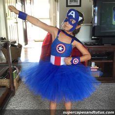 Captain America Inspired Tutu Costume (cape, cuffs & mask sold seprately)