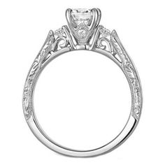 $1,550.00 Round Diamond Filigree Engagement Ring Cathedral Pave Engraved Band 0.40 tcw In 14K White Gold