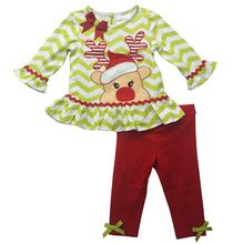 2PCS/set Baby Girls children cute fawn pattern striped T-shirt + pants clothes for Kids Christmas clothing children clothing set(China (Mainland))