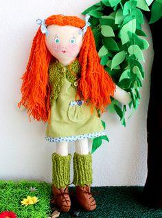 Lola handmade cloth art doll #artdoll #clothdoll #ragdoll #ginger #redhair #etsy #jesuismimi