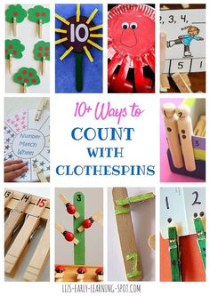 When kids count with clothespins they're learning numbers as well as working their fingers hard, which is terrific pre-writing practice! Great ideas here!