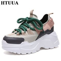 5a9608b48abf0 HTUUA 2018 Printemps Automne Femmes Chaussures Plate-Forme Confortable Chaussures  femme Sneakers Dames Formateurs chaussure
