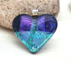 Purple and Turquoise Heart Fused Glass Pendant by hbjewelrydesign, $28.00