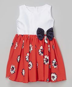 Look at this Red & White Daisy Bow Swing Dress - Infant, Toddler & Girls on #zulily today!