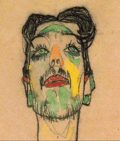 Egon Schiele, Ritratto del Mimo Erwin Dominik van Osen, (particolare) 1910.