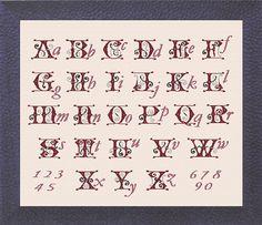 BAROQUE ALPHABET - Cross stitch chart