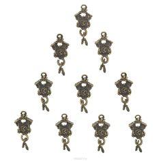 Набор подвесок ScrapBerrys Часы с кукушкой, цвет: бронзовый, 20 мм х 13 мм, 10 шт