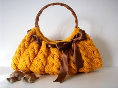 Mustard Yellow Knit Bag/Purse w/Brown Ribbon Tie by NzLbags on Etsy