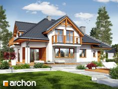 A simple, small family home that's lovable inside is part of Facade house - A prefab home from Poland impresses with spaciousness and a natural look Unique House Design, Design Your Dream House, Prefabricated Houses, Prefab Homes, House With Porch, House Front, Style At Home, Cottage Style Homes, Facade House