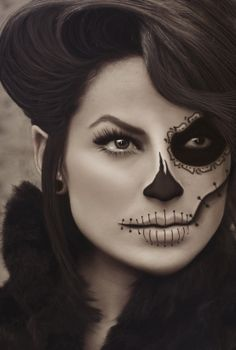Skeleton makeup.                                                                                                                                                                                 More