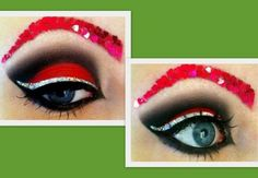 love this red eyeshadow! Love Makeup, Makeup Looks, Hair Makeup, Holiday Makeup, Christmas Makeup, Mystic Nails, Roller Derby Girls, Glitter Liner, Red Eyeshadow
