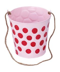"Bulk Wholesale – 5.2"" Handmade Hanging Metal Planter / Pot in Baby-Pink with Embossed & Dotted Red Pattern – Indoor / Outdoor / Garden / Patio Accessories – Home Décor"