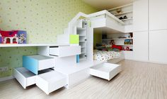 Glamorous Apartment design with dark Furniture and a wooden ambience : Inspiring Room For Kids With Storage Bed Concept And Stair For Next Bed With White Wardrobe Room Interior Design, Kids Room Design, Apartment Interior, Apartment Design, Bunk Beds With Storage, Bed Storage, Storage Ideas, Modern Bunk Beds, Cool Kids Rooms