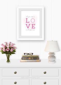 Hey everyone! I am so excited to be sharing with you today this set of printable wall art that I designed inspired by the greatest band ever, The Beatles. Free Printables, Party Printables, All You Need Is Love, Home Decor Inspiration, Floating Nightstand, The Beatles, Printable Wall Art, Sweet Home, Bedroom Decor