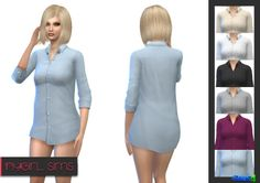 "nygirlsims: Plain Business Shirt. I wasn't sure why EA hadn't made plain versions of this shirt to go along with the striped ones but here are some plain ones. I've retextured the shirt with a male texture to make it more a his shirt for her kind of thing. Comes in six colors and made with TS4 textures. DOWNLOAD /Like the idea of using male textures to make it more of a ""wearing his shirt"" event."