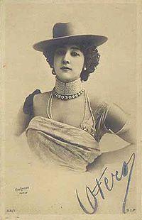 "Carolina ""La Belle"" Otero (4 November 1868 – 12 April 1965) was a Spanish born dancer, actress and courtesan."