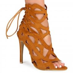 Candy Cut Out Tie Back Heeled Sandals in Tan