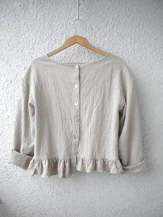 linen top boho linen shirt linen jacket ruffle by EcoFriendlyForU