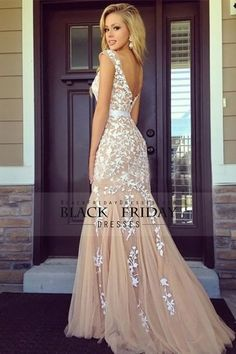 Bicolor Prom Dresses Bateau Sheath Low Back Sweep/Brush Train Tulle With Ivory Applique