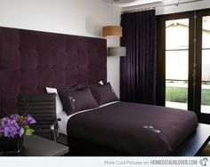51 Awesome Purple Accents In Bedrooms : 51 Awesome Purple Accents In  Bedrooms With White And Dark Purple Bed Pillow Blanket And Window Curta.