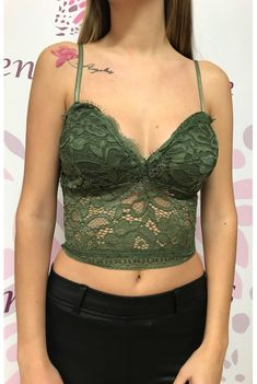 www.dencantoonline.com Crop Tops, Tank Tops, Camisole Top, Casual, Women, Fashion, Green Lace, Shirts, Blouses