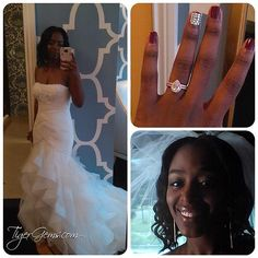 """""""I have my rings!!!!!! They are gorgeous! You are an angel! I'm so happy I'm shedding tears..... """" ✨👰🏾❤ ️#Congratulations to my client!  #beautiful #bride  She is wearing the rose gold plated 1.5 carat pear halo set - Shop now at 💍 TigerGems.com ✨"""