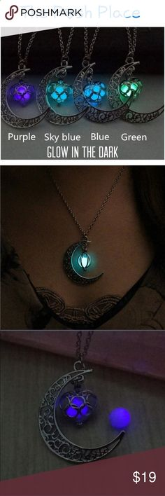 91b3cce6499bd Crescent Moon Glow in the Dark Necklace Crescent Moon Glow in the Dark  Necklace Rustic Silver