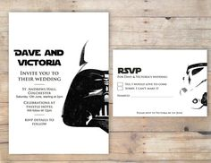 Awesome invites https://www.etsy.com/listing/193885652/star-wars-wedding-invitation-rsvp-order