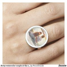 Artsy watercolor couple at the shore Romantic Ring Photo Ring, Mother Gifts, Mothers, Rustic Jewelry, Photo Charms, Black Felt, Apple Watch Bands, Anniversary Gifts, Wedding Planning
