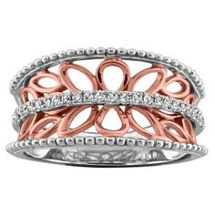 10KT White and rose gold 0.15 diamond ring. RIN-LDI-1957