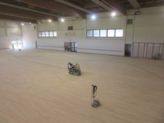 The sports #floor of the sports hall of Gradisca d'Isonzo was undergoing to surgery with #sanding and a treatment with paint skating