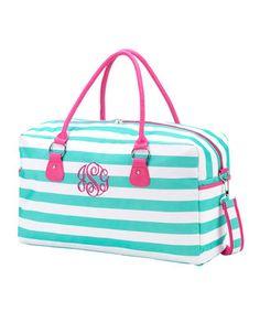 Teal Monogram Stripes Duffel Bag
