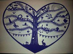 Family tree heart papercut